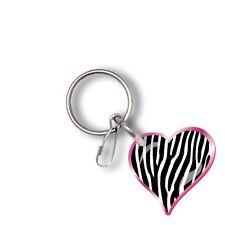 pink black white Zebra Heart Key Chain animal print chrome plated split rings