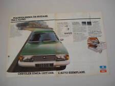 advertising Pubblicità 1978 CHRYSLER SIMCA 1307/1308