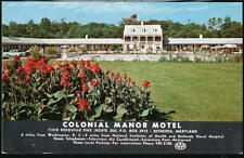 BETHESDA MD Colonial Manor Motel Pool Vtg 1950's Cars Postcard Old Maryland PC