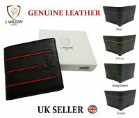 Designer J Wilson Genuine Mens Quality Real Leather Black Wallet Card Coin Gift
