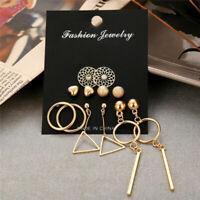 6Pairs Boho Women Geometric Hollow Lotus Earrings Drop Jewelry Ear Stud Earrings