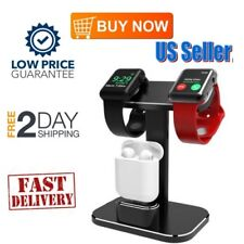 2 In 1 Apple Watch Stand Dual Holder  Head iWatch Charging Dock Station Black US