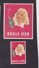 Anciennes étiquettes allumettes Belgique BN23805 Cigarettes Boule D'or Femme 2