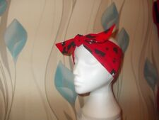 LADIES TIE HEADWRAP/ HEADBAND/ BANDANA NEW (Red Heart Attack) 100% COTTON