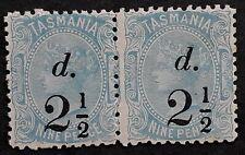 1891 Tasmania Australia Pr 2 1/2d surch on 9d Pale Blue S/F Stamps 3 1/2mm Mint