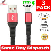 3 x Fast Charging Cable Nylon Braided USB C Type-C Cord For Samsung S8 S9 -Black