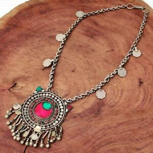 Vintage Tribal Boho Kuchi Banjara Afghan Rare Handmade Gypsy Coin Chain Necklace