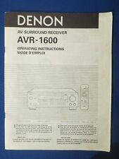 DENON AVR-1600 RECEIVER OWNER MANUAL FACTORY ORIGINAL THE REAL THING