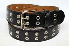 Men Women Double Grommet Holes Dress Casual Leather Belt 2 Prong M L 2XL 3XL 4XL
