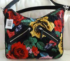 VERA BRADLEY  Vivian Hobo Bag - Havana Rose Purse Shoulder Strap - Black - NWT