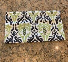PILLOW DÉCOR Linen Damask Print Green Black 12x19 Throw Pillow