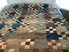"""Antique Old (9- Patch) Beautiful Quilt""""76x72""""tucking Back"""