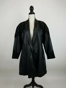 Jacqueline Ferrar Leather Trench Jacket Womens Small Floral Trim Long Bla B47-11
