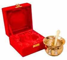 Indian Brass Gold Silver Plated Table Centerpiece Engraved Round Vesesel (Lota)