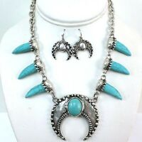 SQUASH BLOSSOM NECKLACE SET in turquoise and silver, curved 14 inch adj.