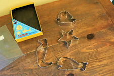 Vintage Fox Run Cookie Cutters Beach Comber Metal Boat, Starfish,Whale ,Seahorse