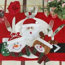 3pcs Table Cutlery Suit Set Decor Home Snowman Cutlery Bags Christmas Santa