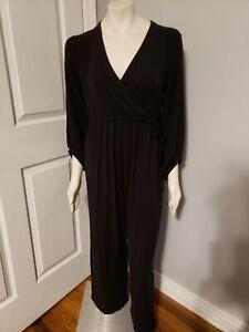 Gap Maternity 3/4 Sleeve Wide Leg Drawstring Elastic Waist Black Jumpsuit Medium
