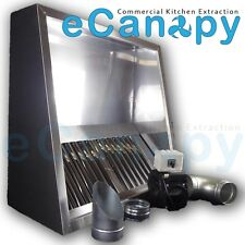 Commercial Kitchen Extraction Canopy Hood Full Kit 1200mm - Motor, Duct,Fittings