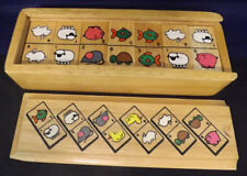 Vintage Animal Domino Set in Wooden Box. Appear Unused. 28 Pieces. Complete Set