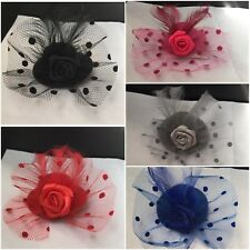 Flower Hair Clip Feathers Small Mini Top Hat Fascinator Royal Ascot RaceSize 5cm