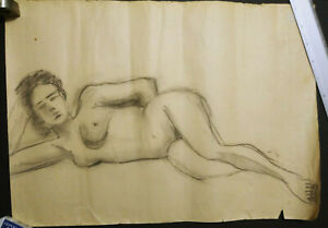 Latvia Russia Realism Original Pencil Drawing Nude Woman 173104