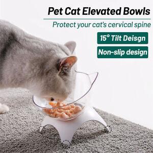 Non-slip Cat Bowl w/ Raised Stand Pet Dog Food Water Feeder Dish 15° Tilt