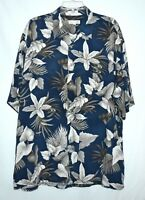 Pierre Cardin Hawaiian Aloha Navy Gray Cream Floral Mens Shirt Size XL Korea