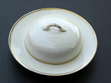 K  T & K ~ KNOWLES & TAYLOR ~ ANTIQUE COVERED / LIDDED BUTTER DISH ~ GOLD RIM