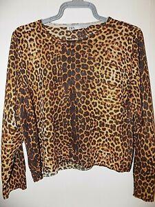 ZARA Knit Summer Leopard Print Lightweight Jumper - Size S -