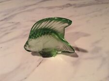 Lalique Art Glass Light Green Fish Poisson Signed w/Original Boxes & Pouch