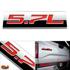 """5.7L"" Polished Metal 3D Decal Red Emblem Exterior Sticker For RAM/Toyota/Jeep"