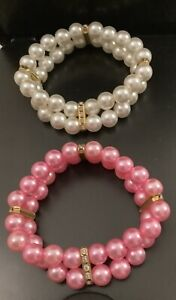 2 Double Row Pearls with Rhinestone Cat/Dog Collars Pink and White