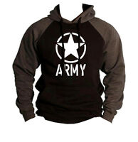 New Men's Army Circle Star Black/Charcoal Raglan Hoodie Sweater US Military V120