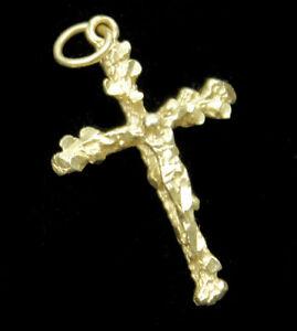 "VTG 14k Yellow Gold Jesus Christ Crucifix Cross Religious Charm Pendant 1"" 2.2g"