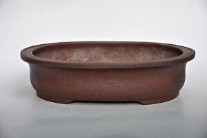 Japanese Seibun Tokoname Makoto Bishu Bisho Unglazed Red Brown Oval Bonsai Pot