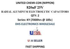 UNITED CHEMI-CON 820uF 25V QTY: 2  Electrolytic Radial Capacitors -40 to +105c