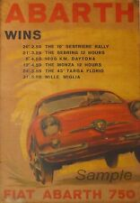 VINTAGE FIAT ABARTH RACING A4 poster stampa