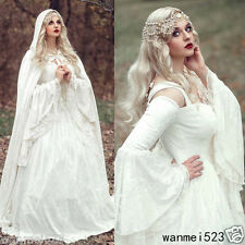 2018 New Renaissance White  Bell Sleeve Wedding Dress Celtic Medieval Bride Gown