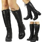 NEW WOMENS LADIES COMBAT LOW CHUNKY HEEL MID CALF LONG LACE UP BOOTS SHOES SIZE