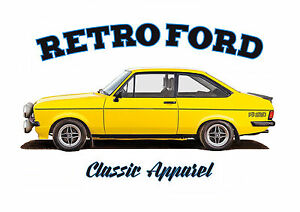 FORD ESCORT RS2000 mk2  t-shirt. RETRO FORD. CLASSIC CAR. FLAT FRONT.