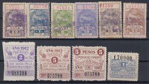F-EX7376 ARGENTINA LOCAL REVENUE SANTA FE PROVINCE. CONTRIBUCION 1896-1912.