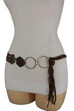 Women Ethnic Vintage Silver Metal Charms Fashion Brown Tie Belt Hip Waist M L XL
