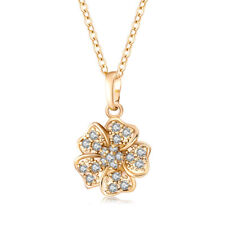 Womens Yellow Gold Filled Fine Crystal Big flower Pendant long Necklace jewelry