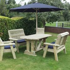 Wooden garden table and chairs bench set solid patio furniture tanalised (ERG6)