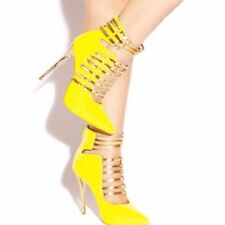 Women Pointed Toe High Heels Sandals Sexy Yellow Party Strap Shoes Plus Big Size