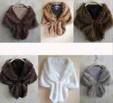 Women Ladies Faux Fur Bridal Wedding Plain Winter Warm Shawl Shrug Wrap