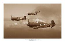 "WWII WW2 RAAF CAC Boomerang Pacific Sepia Aviation Art Photo Print - 12"" X 18"""