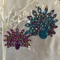 Peacock Acrylic Fantail Feather Christmas Tree Decoration Gisela Graham Purple