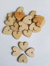 25 Mini heart 2.5cm  Natural Small Wooden buttons Wood card making love